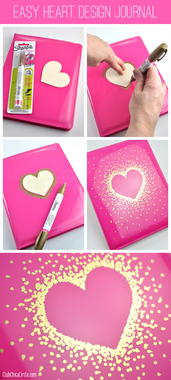 Gold Sharpie Heart Design on Journal