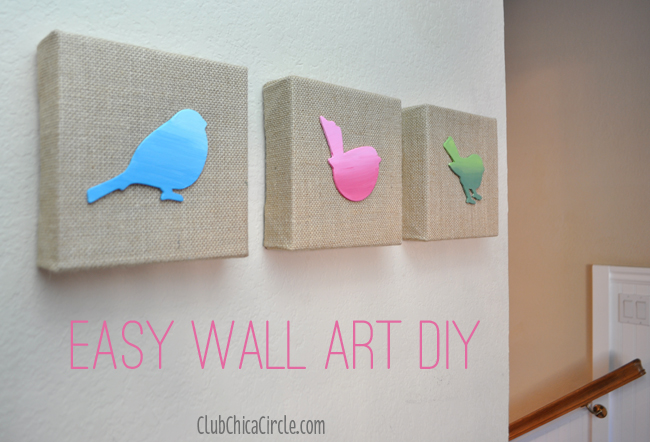 Easy Wall Art DIY @chicacircle & Pretty Ombre Painted Spring Birds Wall Art DIY