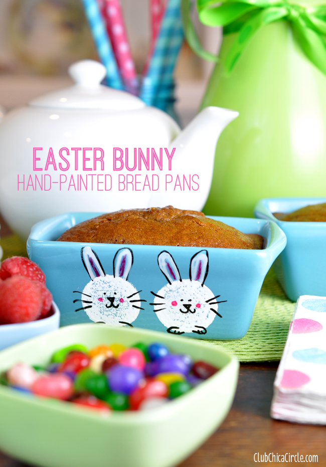 Hand painted bunny bread pans for Easter brunch DIY idea @clubchicacircle