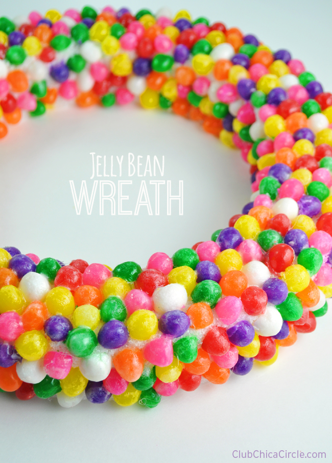 jelly bean wreath Spring craft idea @clubchicacircle