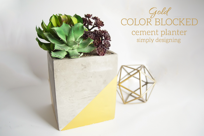 Gold-Color-Blocked-Cement-Planter