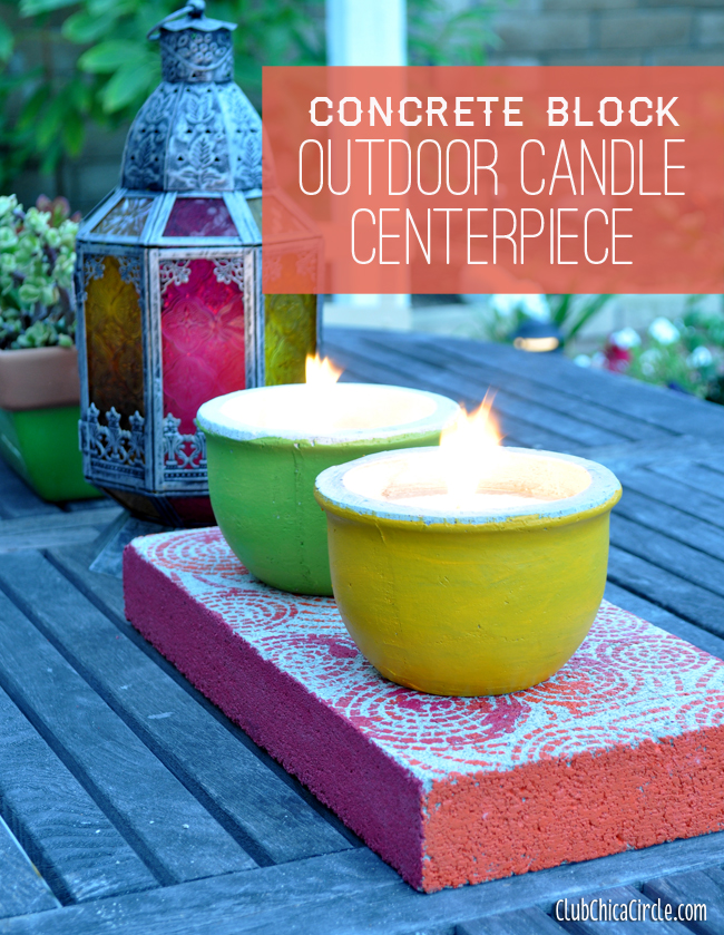 Cement Candle Outdoor Home Decor Craft Idea @clubchicacircle