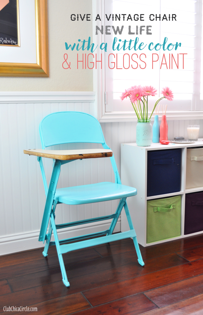 High Gloss Painted Vintage School Chair