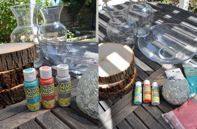 Homemade Bird Bath with upcycled Vases #gardencraft