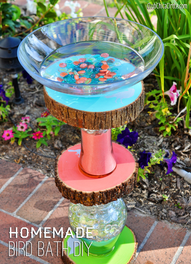 Homemade bird bath diy for Creative things to put in vases