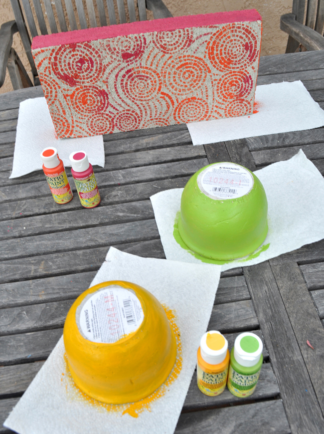 Painted Cement Candle centerpiece easy DIY