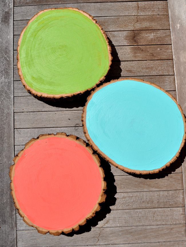 Patio Painted Wood Slices for homemade bird bath
