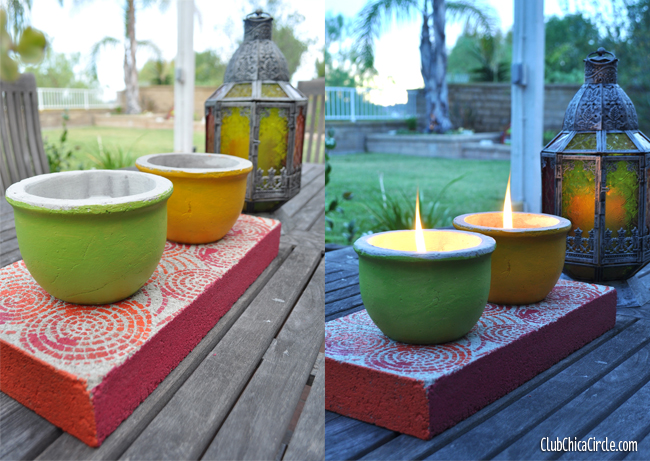 cement centerpiece DIY in daylight and dusk @clubchicacircle