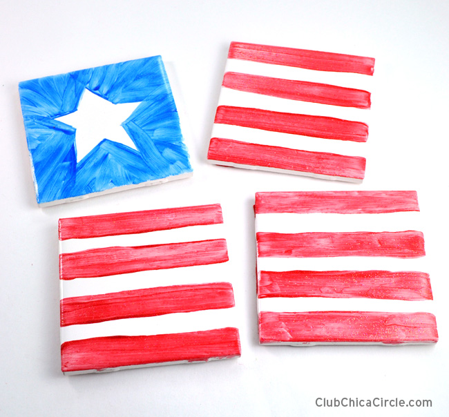 4th of July coasters DIY easy craft idea