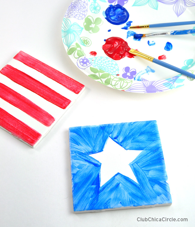 4th of July coasters craft with ceramic paint