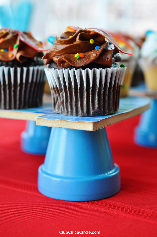 Chocolate cupcake on homemade stand for an easy party idea