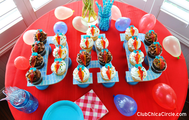 DAD easy cupcake display for Father' Day Party #BakeryBecause