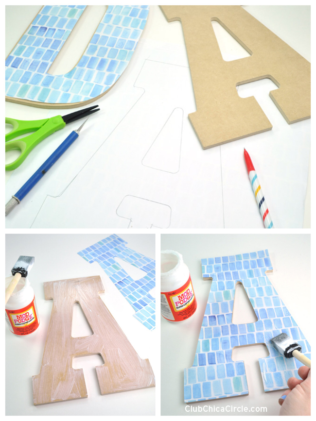 How to Decoupage Large Monogram Letters with Mod Podge