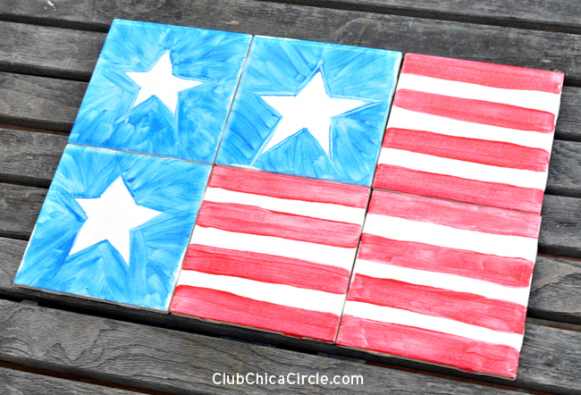 Patriotic Tile Trivet Craft Idea for 4th of July
