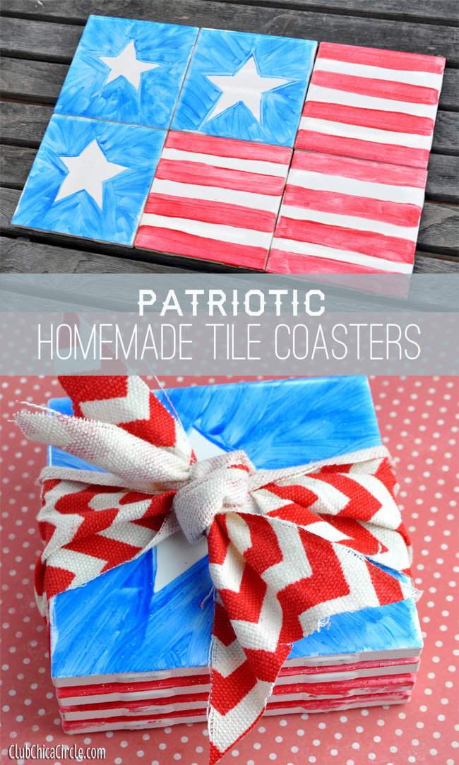 Patriotic Tile Trivet or Coasters 4th of July Craft Idea
