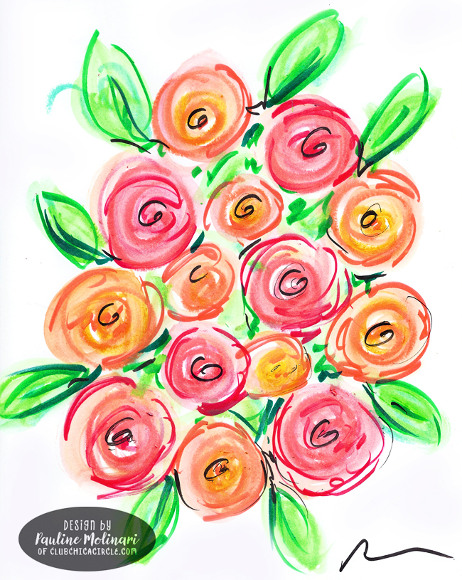 bouquet-of-easy-painted-roses-with-watercolor-crayons