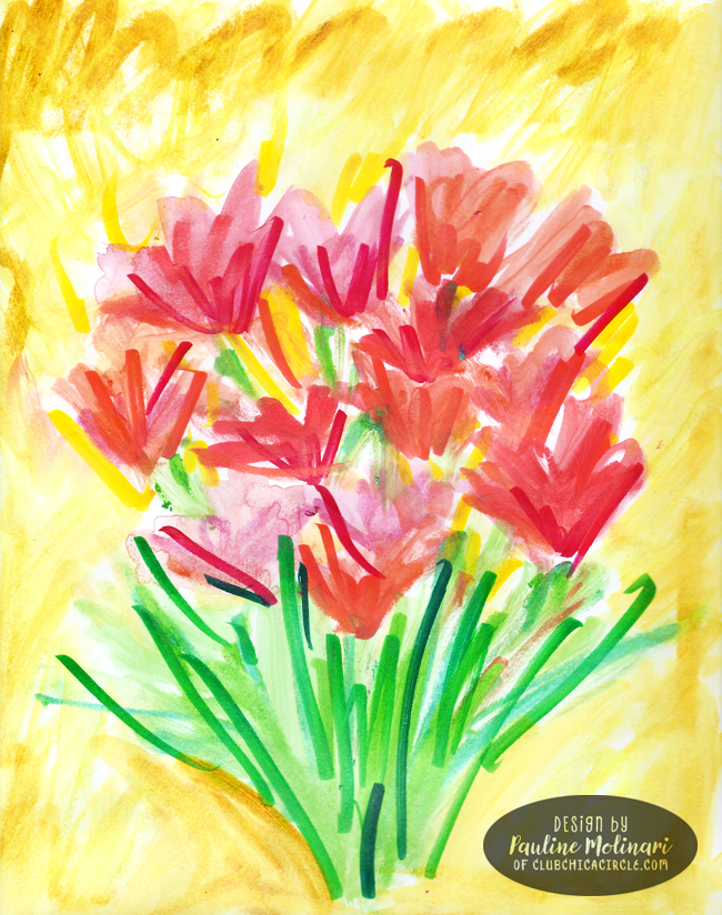 flower-painting-with-crayons-and-markers