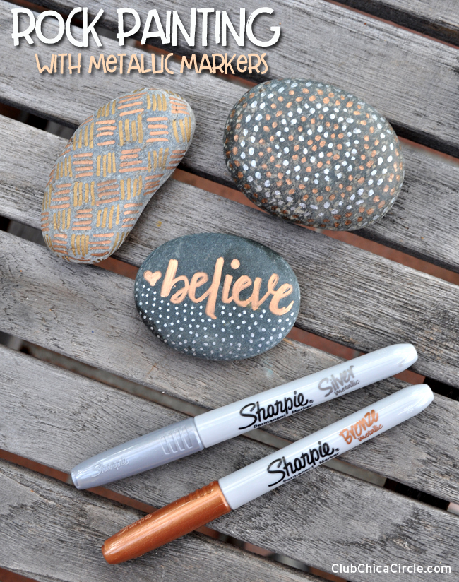 Painted Rocks with Metallic Sharpie markers - easy craft idea