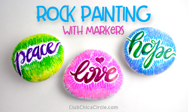 peace love hope hand-lettered painted rocks DIY @chicacircle