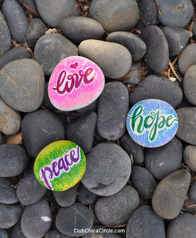 pretty hand lettered painted rocks easy teen craft with markers