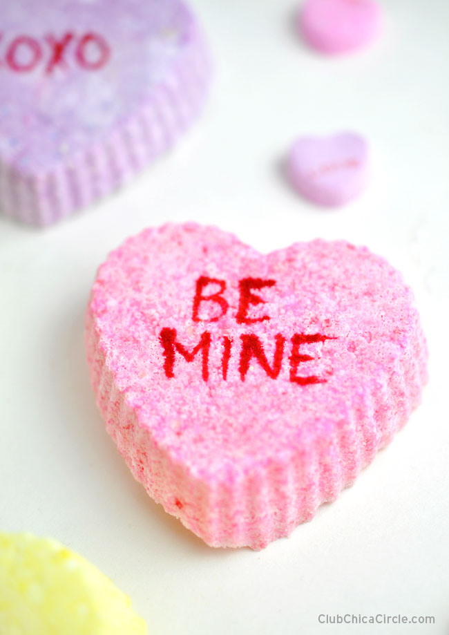 BE MINE Conversation Heart Bath Bomb easy tween craft idea