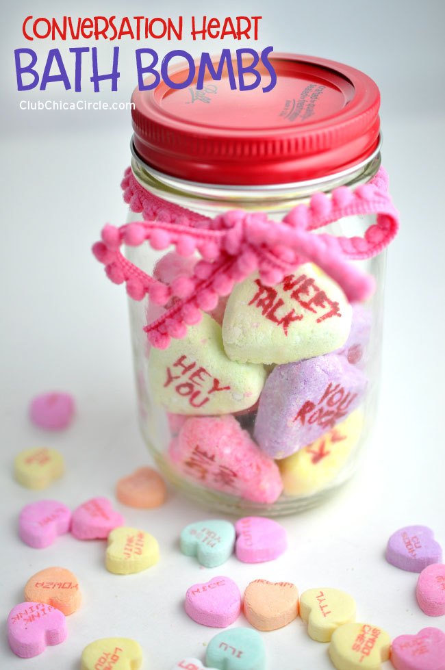 Conversation Heart Homemade Bath Bomb teen craft idea