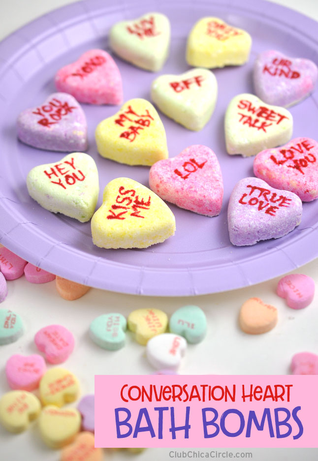 Heart-shaped homemade bath bomb conversation hearts @chicacircle
