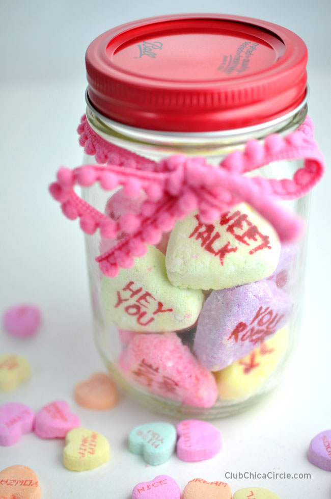 Valentines Day conversation heart bath bomb homemade gift idea for Valentines day