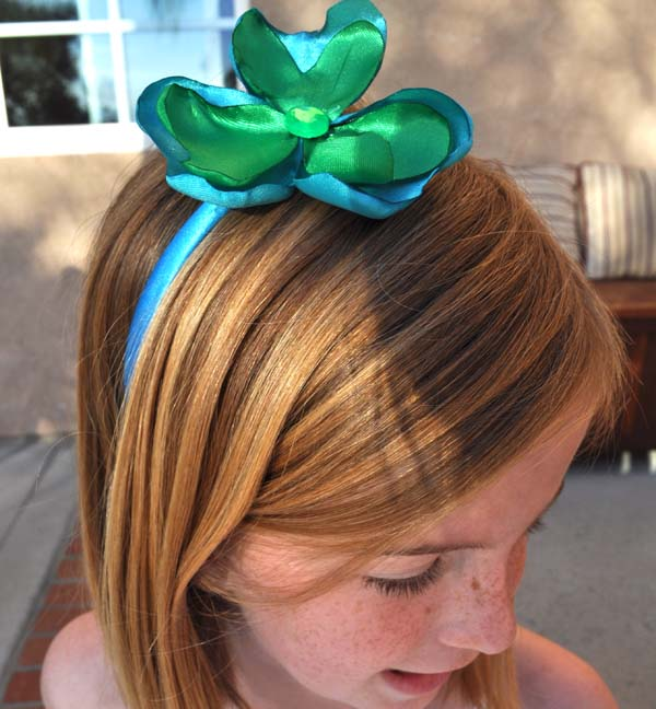 Satin Shamrock Headbands DIY St Patricks Day Idea