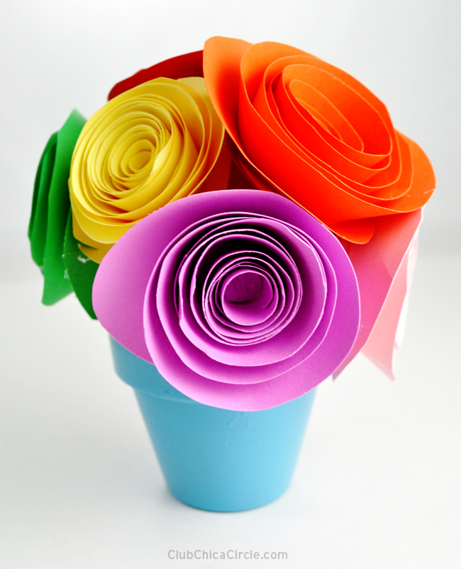 paper flower topiary craft idea
